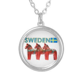 Chevaux de la Suède Dala Pendentif Rond