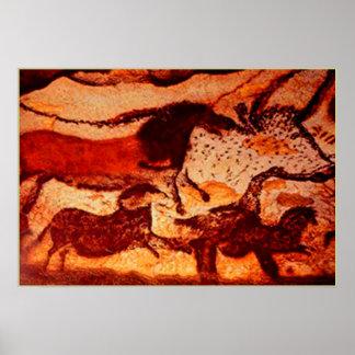 Chevaux de Lascaux et un Taureau Posters
