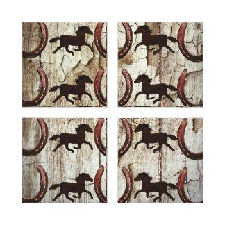 Chevaux et fers à cheval sur les cadeaux en bois d impressions sur toile