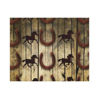 Chevaux et fers à cheval sur les cadeaux en bois impressions sur toile
