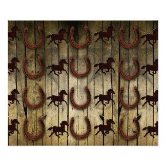 Chevaux et fers à cheval sur les cadeaux en bois photographie d'art