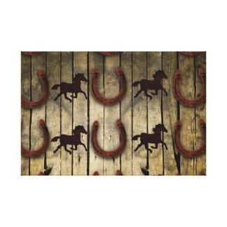 Chevaux et fers à cheval sur les cadeaux en bois impression sur toile