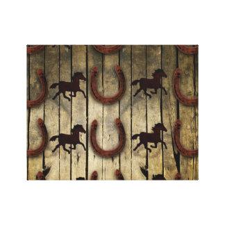 Chevaux et fers à cheval sur les cadeaux en bois toile tendue