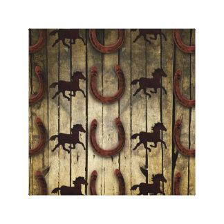 Chevaux et fers à cheval sur les cadeaux en bois toiles tendues