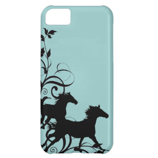 Chevaux sauvages noirs coque iPhone 5C