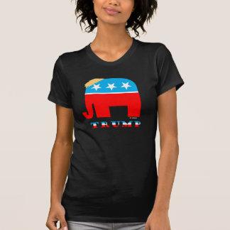 Cheveux d'atout sur l'éléphant blanc et bleu rouge t-shirt