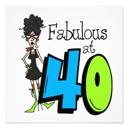 Cheveux noirs fabuleux à l'anniversaire 40 invitations