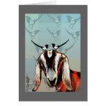 Chèvre avec des pies : amitié, beaux-arts carte de vœux