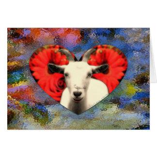 Chèvre avec le coeur carte de vœux
