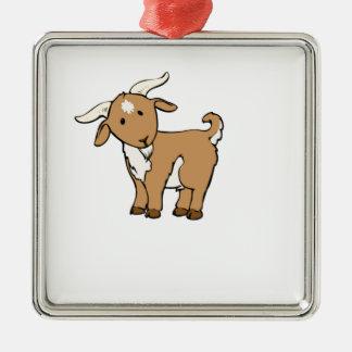 chèvre brune mignonne ornement carré argenté