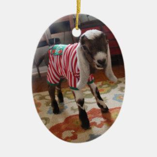 Chèvre de bébé en ornement de Noël de pyjamas