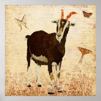 Chèvre de Billy et affiche de papillons