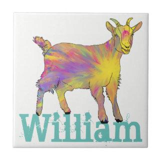 Chèvre jaune d'art se tenant sur la conception carreau
