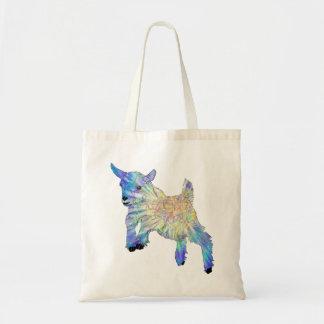 Chèvre mignonne colorée de bébé sautant l'art sac