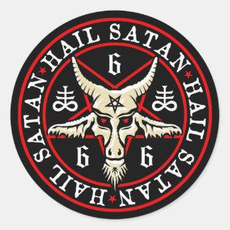 Chèvre occulte de Satan Baphomet de grêle dans le Sticker Rond