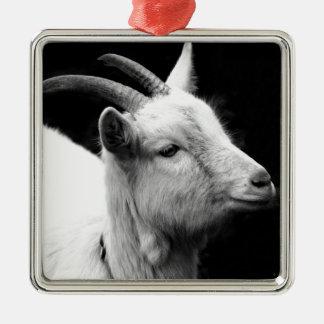 chèvre ornement carré argenté