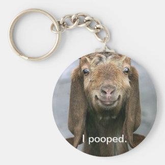 Chèvre pooping porte-clé rond
