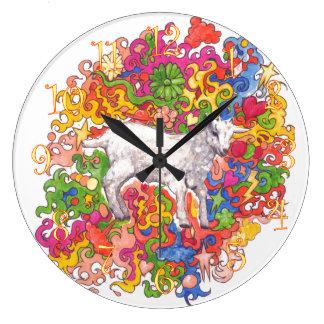 Chèvre psychédélique grande horloge ronde
