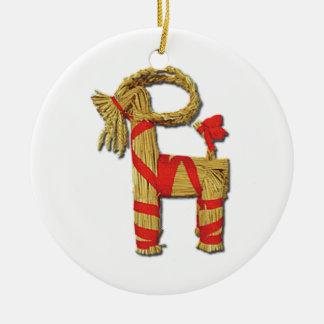Chèvre scandinave Julbok de Noël de paille de Noël Ornement Rond En Céramique