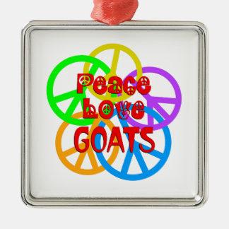 Chèvres d'amour de paix ornement carré argenté