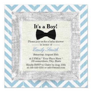 Chevron bleu barre le baby shower de garçon de carton d'invitation  13,33 cm