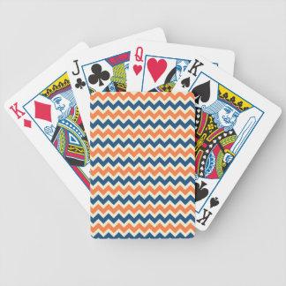Chevron bleu et orange coloré barre des zigzags jeu de poker