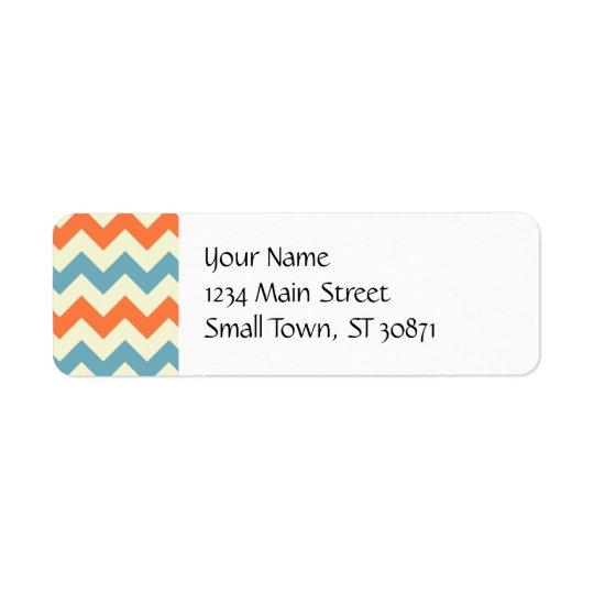 Chevron bleu et orange en pastel barre des zigzags étiquettes d'adresse retour