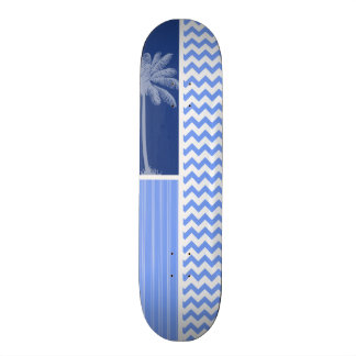 Chevron bleu tropical plateaux de skateboards customisés