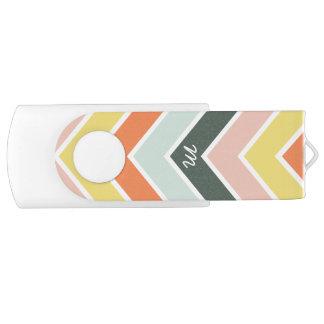 Chevron | gai décoré d'un monogramme par des clé USB 2.0 swivel