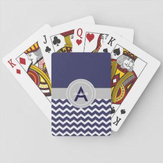 Chevron gris bleu-foncé jeu de cartes