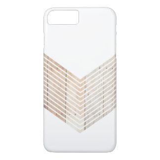 Chevron minimaliste blanc avec du bois coque iPhone 7 plus
