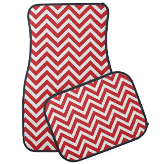 Chevron moderne rouge tapis de sol