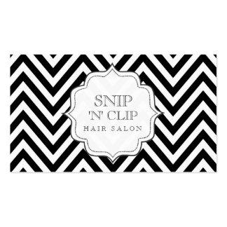 Chevron noir et blanc barre des cartes de coiffeur modèles de cartes de visite