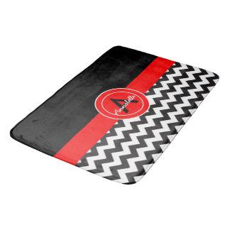 Chevron rouge noir tapis de bain