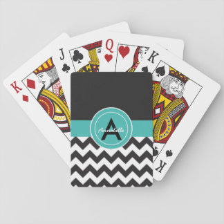 Chevron turquoise noir cartes à jouer