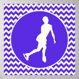 Chevron violet bleu Patinage artistique Affiches