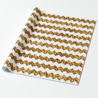 Chevrons blancs frais imprimés par scintillement papier cadeau noël