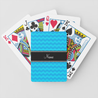 Chevrons bleus nommés personnalisés cartes à jouer