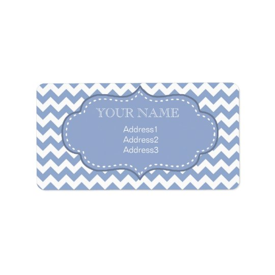 Chevrons et bleu piqué d'étiquette étiquette d'adresse
