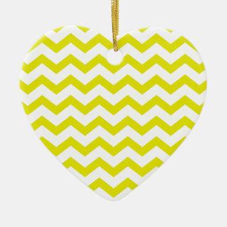 Chevrons jaune citron ornement cœur en céramique