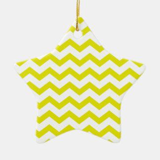 Chevrons jaune citron ornement étoile en céramique