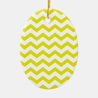 Chevrons jaune citron ornement ovale en céramique