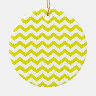 Chevrons jaune citron ornement rond en céramique