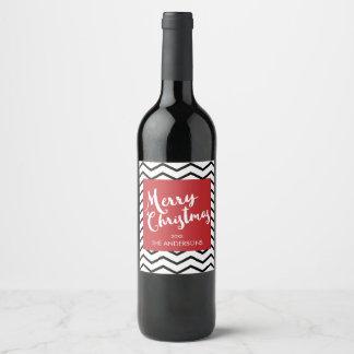 Chevrons noirs et Noël rouge et Joyeux Étiquette Pour Bouteilles De Vin