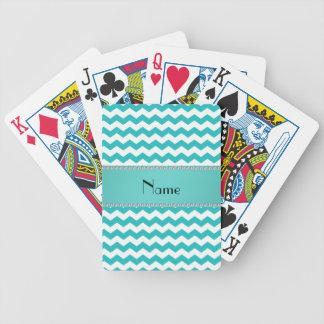 Chevrons nommés personnalisés de turquoise jeux de cartes