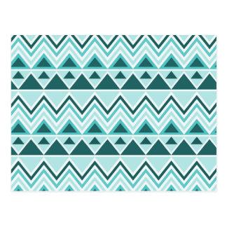 Chevrons tribaux aztèques de triangles de montagne cartes postales