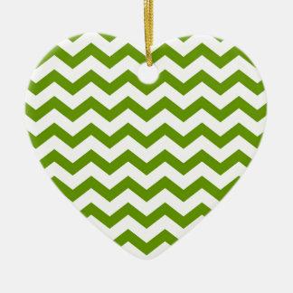 Chevrons verts antiques ornement cœur en céramique