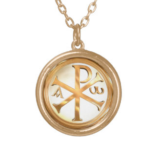 Chi-Rho d'or Collier Plaqué Or
