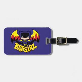 Chibi Batgirl avec l'horizon et le logo de Gotham Étiquette Pour Bagages
