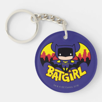 Chibi Batgirl avec l'horizon et le logo de Gotham Porte-clé Rond En Acrylique Double Face